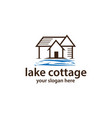 cottage with water logo vector image vector image