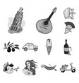 country italy monochrome icons in set collection vector image