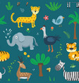 cute animals seamless pattern cartoon animals vector image vector image