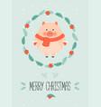 cute christmas woodland character merry christmas vector image vector image