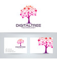 digital tree logo design vector image vector image