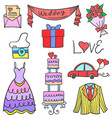 element wedding pasrty of doodles vector image vector image