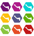flabby arm cosmetic correction icon set color vector image vector image