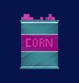 flat shading style icon pixel corn in glass vector image vector image