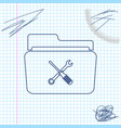 folder and tools or settings line sketch icon vector image vector image