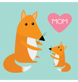 Fox mother and baby Cute cartoon character set
