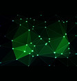 glowing neon green geometric background with mesh vector image