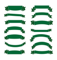 Green ribbon banners set Beautiful blank vector image vector image