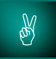 hand showing two finger icon victory hand sign vector image vector image