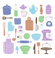 kitchen utensils food kitchenware cooking set vector image vector image
