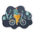 man ride bicycles on dark vector image vector image