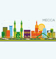 mecca skyline with color landmarks and blue sky vector image vector image