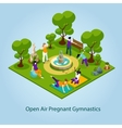 Open Air Gymnastics For Pregnant vector image