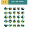 outdoor and camping filled outline icon set vector image