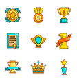 prize place icons set cartoon style vector image vector image