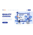 quality contents landing page template vector image
