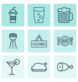 restaurant icons set with glass chicken leg vector image vector image