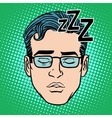 Retro Emoji sleeping male face vector image vector image