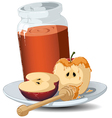 rosh hashanah honey jar and apples vector image vector image