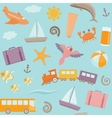 Seamless pattern with travel symbols vector image