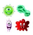 Set of cartoon bacteria fun characters cute vector image vector image