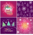 Set of four Christmas seamless pattern vector image