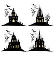 Set of halloween castle with bats black silhouette vector image vector image