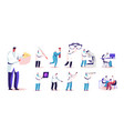 set people in doctor uniform with medic tools vector image