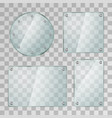 set realistic glossy glass plates in different vector image vector image