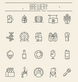 set thin line icons beer and brewery vector image vector image