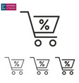 shopping cart line icon on white background vector image