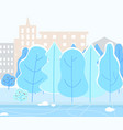snowy city park with trees winter weather in town vector image vector image