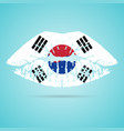 south korea flag lipstick on the lips isolated on vector image vector image