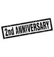 square grunge black 2nd anniversary stamp vector image vector image
