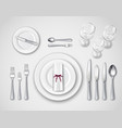 table setting realistic top view vector image vector image
