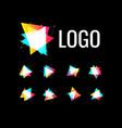 triangle shape set polygonal geometric logo vector image vector image