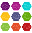 triceratops icons set 9 vector image vector image