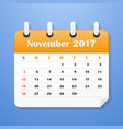usa calendar for november 2017 vector image vector image