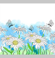 Watercolor background with chamomile
