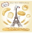 Watercolor French pastry Bread setEiffel tower vector image