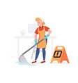 woman from cleaning company staff cleans the vector image vector image