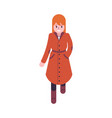 woman in orange and brown vector image vector image