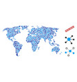 world map connections collage vector image vector image