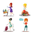 women cartoons housewife with vacuum cleaner vector image
