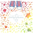 Autumn with motley leaves and boots vector image vector image