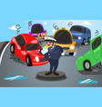 back to school posterpoliceman direct traffic vector image vector image