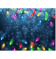 Background with Christmas garland and snow vector image vector image