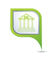bank icon on green map pointer vector image vector image