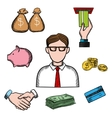 Banking business and financial icons vector image vector image