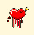 beautiful hand drawn heart with arrow and blood vector image vector image